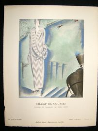 Gazette du Bon Ton by Charles Loupot 1924-5 Art Deco Pochoir. Champ De Courses